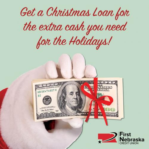 santa holding money for christmas loans